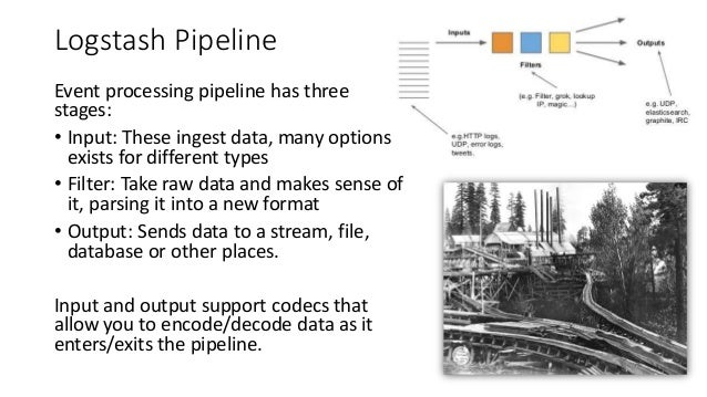 Logstash Pipeline Event processing pipeline has three stages: • Input: These ingest data, many options exists for differen...