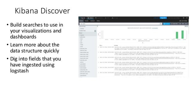 Kibana Discover • Build searches to use in your visualizations and dashboards • Learn more about the data structure quickl...