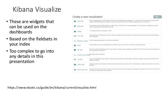 Kibana Visualize • These are widgets that can be used on the dashboards • Based on the fieldsets in your index • Too compl...
