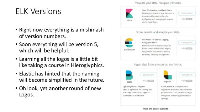ELK Versions • Right now everything is a mishmash of version numbers. • Soon everything will be version 5, which will be h...