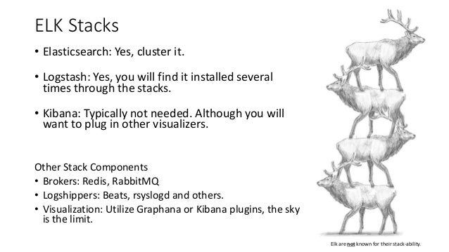 ELK Stacks • Elasticsearch: Yes, cluster it. • Logstash: Yes, you will find it installed several times through the stacks....