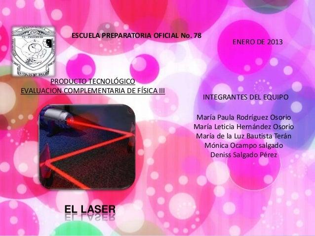 ESCUELA PREPARATORIA OFICIAL No. 78                                                          ENERO DE 2013       PRODUCTO ...