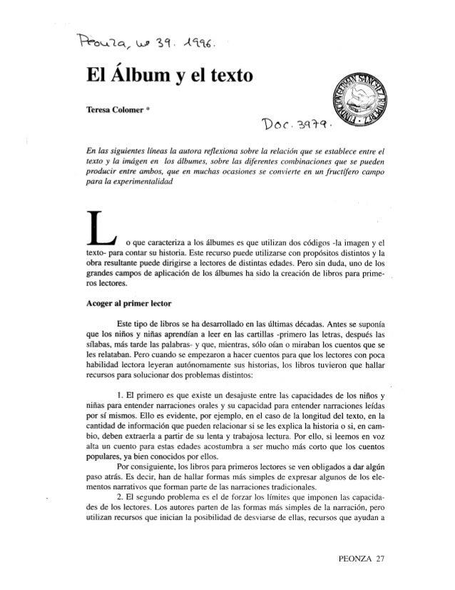 El álbum y el texto. peonza, número 39, 1996.