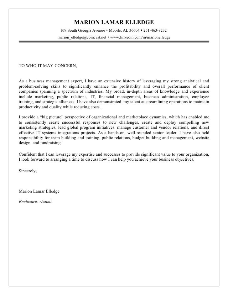 Cover letters to whom it may concern examples for Writing a cover letter to whom it may concern