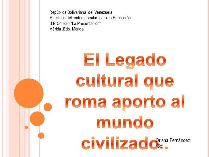 """República Bolivariana  de  Venezuela<br />Ministerio del poder  popular  para  la Educación<br />U.E Colegio """"La Presentac..."""