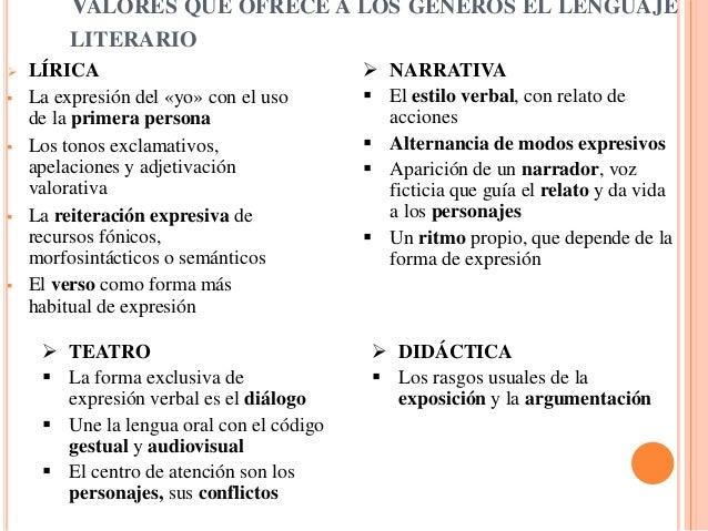 VALORES QUE OFRECE A LOS GÉNEROS EL LENGUAJE         LITERARIO   LÍRICA                                 NARRATIVA   La ...