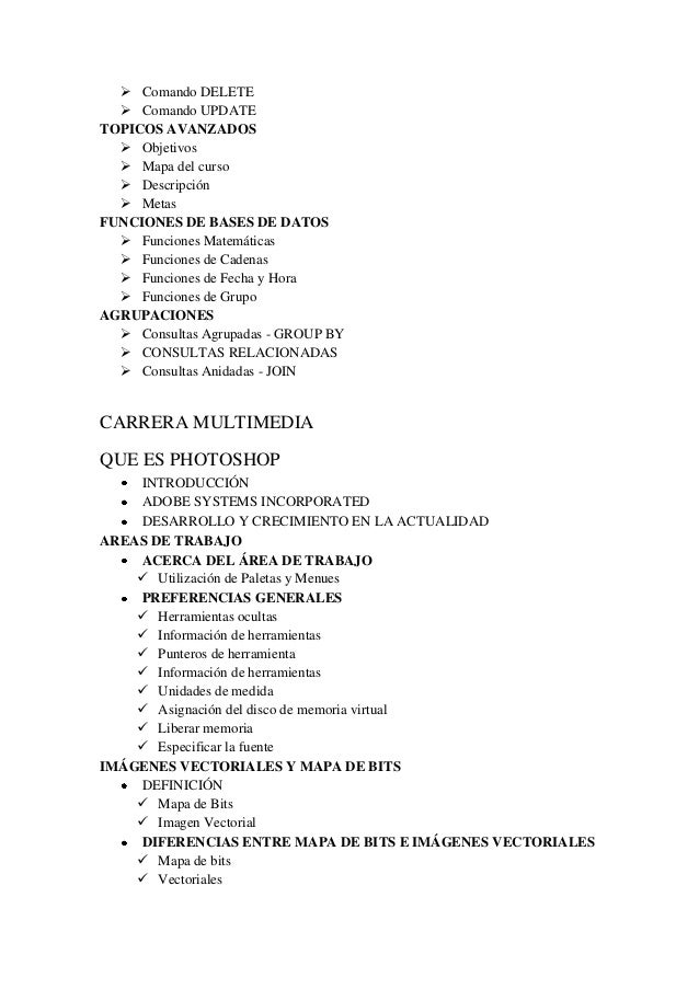  Comando DELETE  Comando UPDATE TOPICOS AVANZADOS  Objetivos  Mapa del curso  Descripción  Metas FUNCIONES DE BASES ...