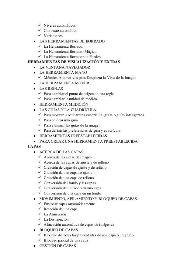  Niveles automáticos  Contraste automático  Variaciones LAS HERRAMIENTAS DE BORRADO  La Herramienta Borrador  La Herr...