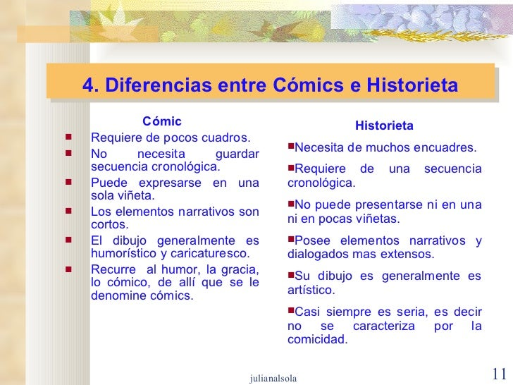 4. Diferencias entre Cómics e Historieta <ul><li>Cómic </li></ul><ul><li>Requiere de pocos cuadros. </li></ul><ul><li>No n...