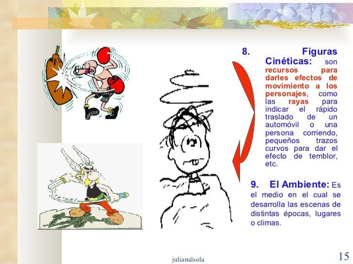 <ul><li>8. Figuras Cinéticas:  son  recursos para darles efectos de movimiento a los personajes , como las  rayas  para in...