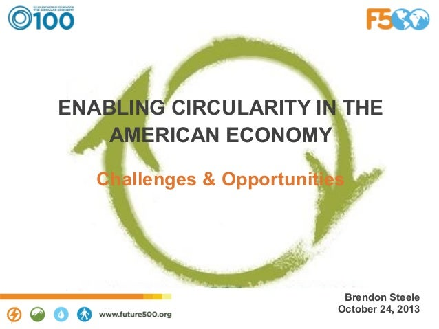 ENABLING CIRCULARITY IN THE AMERICAN ECONOMY Challenges & Opportunities  Brendon Steele October 24, 2013
