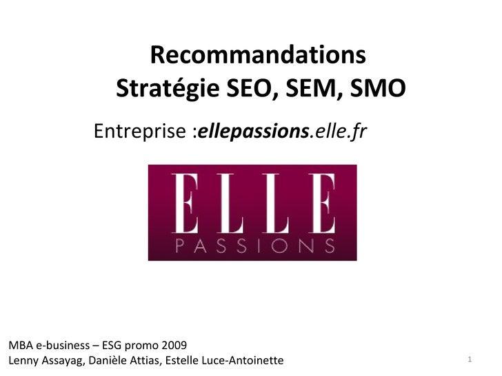 Recommandations  Stratégie SEO, SEM, SMO Entreprise : ellepassions .elle.fr   MBA e-business – ESG promo 2009 Lenny Assaya...