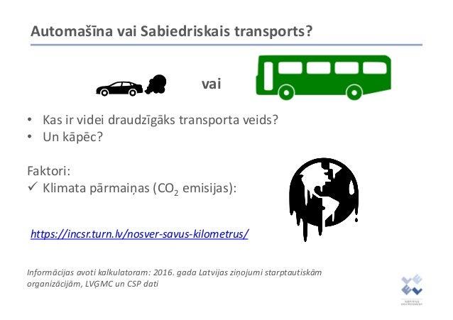 Automašīna vai Sabiedriskais transports? • Kas ir videi draudzīgāks transporta veids? • Un kāpēc? Faktori: ✓ Klimata pārma...