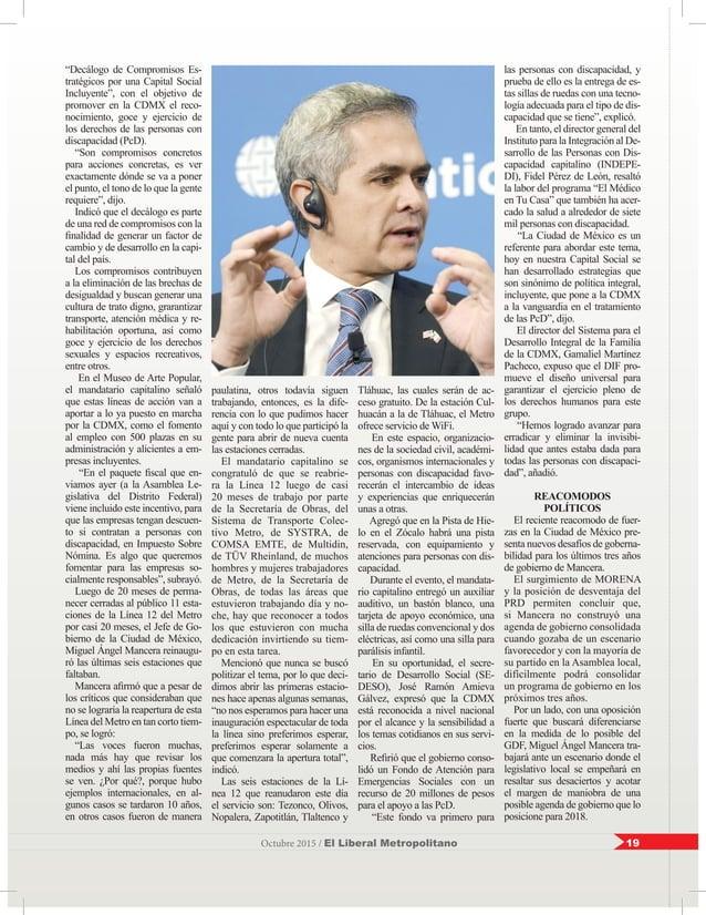 """19Octubre 2015 / El Liberal Metropolitano """"Decálogo de Compromisos Es- tratégicos por una Capital Social Incluyente"""", con ..."""