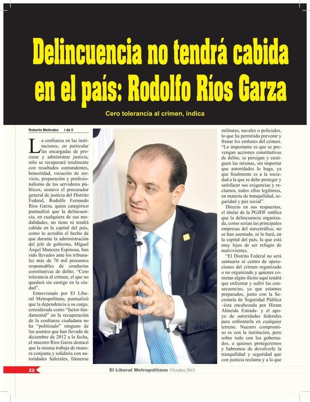 Roberto Meléndez I de II L a confianza en las insti- tuciones, en particular las encargadas de pro- curar y administrar ju...