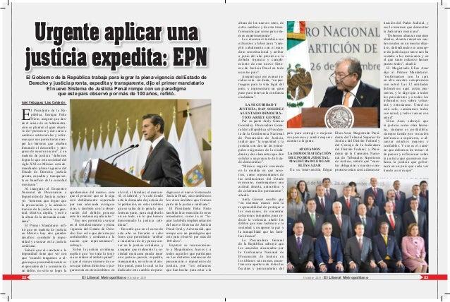 23El Liberal Metropolitano /Octubre 201522 Octubre 2015 / El Liberal Metropolitano Ariel Velázquez/ Lino Calderón E l Pres...