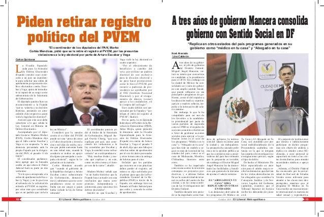 13El Liberal Metropolitano /Octubre 201512 Octubre 2015 / El Liberal Metropolitano Carlos Quintanar L a Fiscalía Especiali...