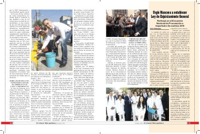 15El Liberal Metropolitano /Octubre 201514 Octubre 2015 / El Liberal Metropolitano por la DKT Internacional y Fem Health d...