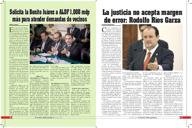 17El Liberal Metropolitano /Octubre 201516 Octubre 2015 / El Liberal Metropolitano Roberto Melendez C on el compromiso de ...
