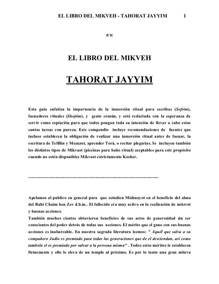 EL LIBRO DEL MIKVEH - TAHORAT JAYYIM                                      1                                               ...