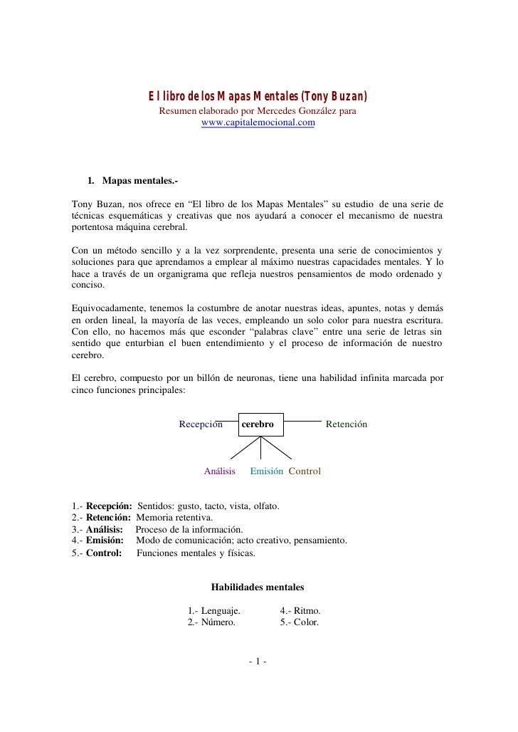 El libro de los Mapas Mentales (Tony Buzan)                         Resumen elaborado por Mercedes González para          ...