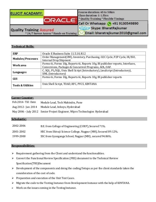 Oracle Forms And Reports Resume Images Resume Format Examples 2018