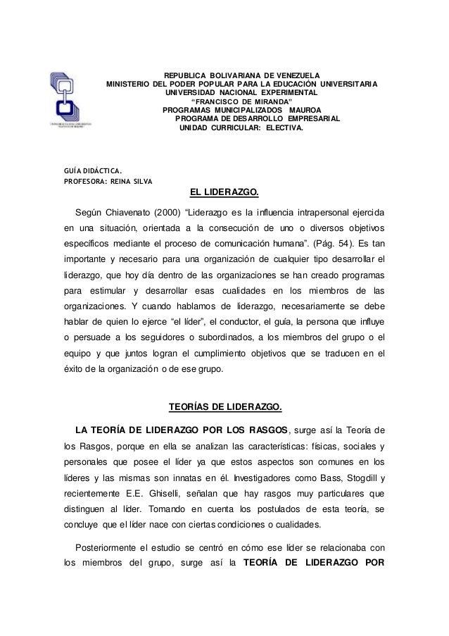 REPUBLICA BOLIVARIANA DE VENEZUELA MINISTERIO DEL PODER POPULAR PARA LA EDUCACIÓN UNIVERSITARIA UNIVERSIDAD NACIONAL EXPER...