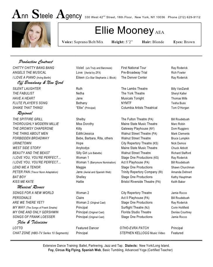 Lovely Performance Resume. Ann Steele Agency ... Intended Performance Resume