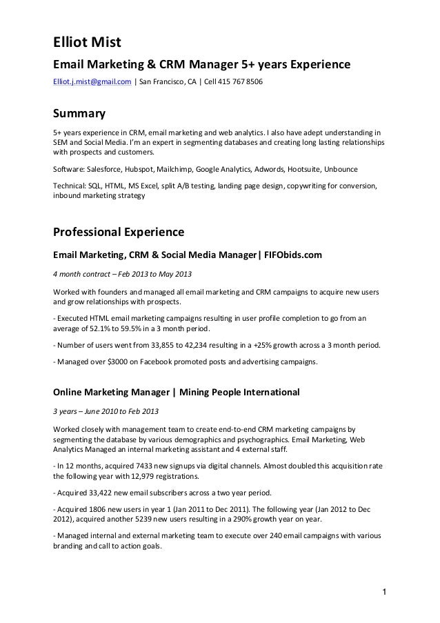 marketing manager resume 1 elliot mist email marketing crm