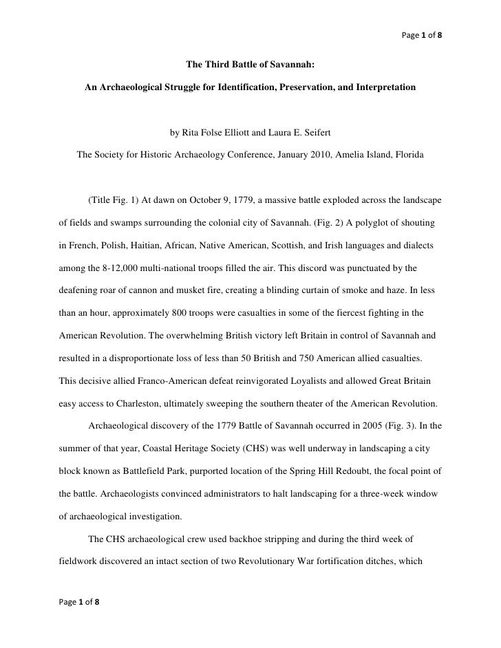 The Third Battle of Savannah:<br />An Archaeological Struggle for Identification, Preservation, and Interpretation<br />by...