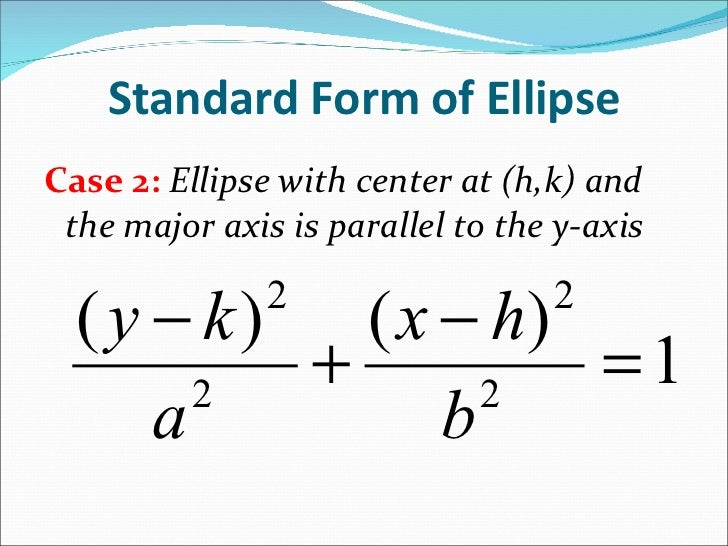 what is the standard form of an ellipse equation
