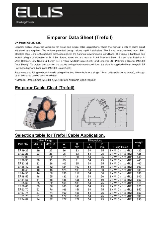 * Material Data Sheets MDS01 & MDS02 are available upon request. Emperor Cable Cleat (Trefoil) Selection table for Trefoil...