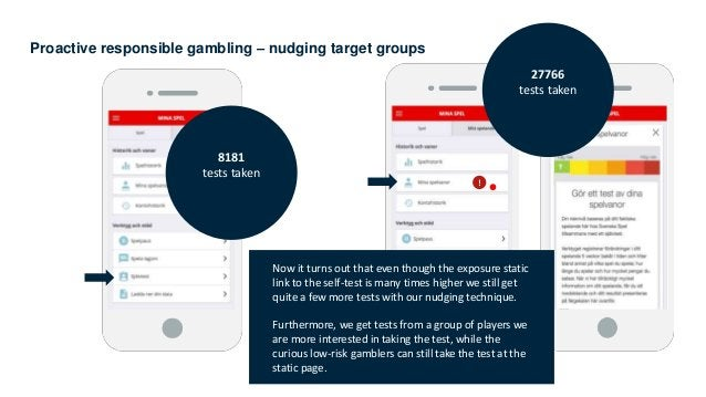 Proactive responsible gambling – nudging target groups 27766 tests taken 8181 tests taken ! Now it turns out that even tho...