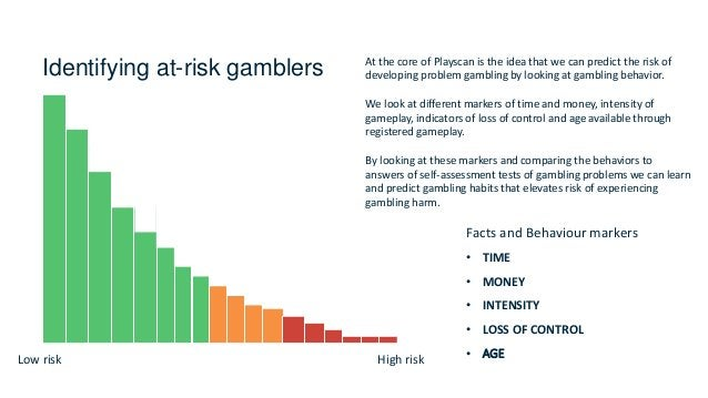 Identifying at-risk gamblers Facts and Behaviour markers • TIME • MONEY • INTENSITY • LOSS OF CONTROL • AGELow risk High r...