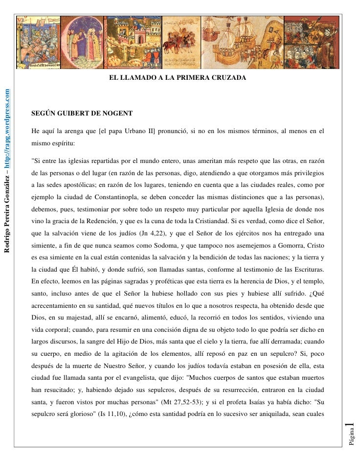 EL LLAMADO A LA PRIMERA CRUZADARodrigo Pereira González – http://rapg.wordpress.com                                       ...