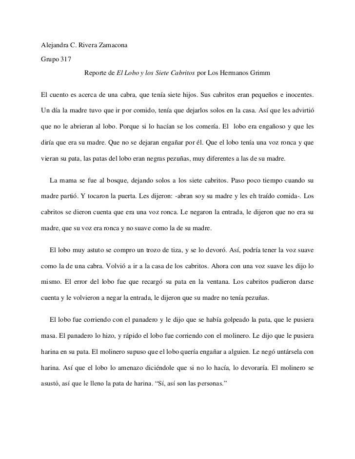 Alejandra C. Rivera ZamaconaGrupo 317                Reporte de El Lobo y los Siete Cabritos por Los Hermanos GrimmEl cuen...