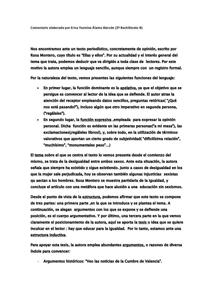 Comentario elaborado por Erica Yasmina Álamo Alarcón (2º Bachillerato B)Nos encontramos ante un texto periodístico, concre...