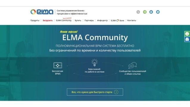 www.elma-bpm.ru ELMA Community ➢ Новая версия системы ➢ 10 лет на рынке BPM ➢ Полностью бесплатна ➢ Нет ограничений по кол...