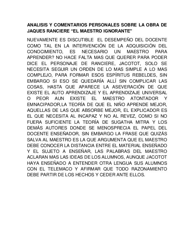 """ANALISIS Y COMENTARIOS PERSONALES SOBRE LA OBRA DEJAQUES RANCIERE """"EL MAESTRO IGNORANTE""""NUEVAMENTE ES DISCUTIBLE EL DESEMP..."""