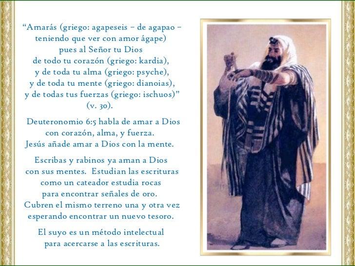 """"""" Amarás (griego: agapeseis – de agapao – teniendo que ver con amor ágape)  pues al Señor tu Dios  de todo tu corazón (gri..."""