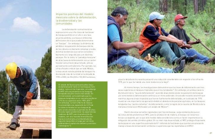 Impactos positivos del modelo     mexicano sobre la deforestación,     la biodiversidad y las     comunidades             ...