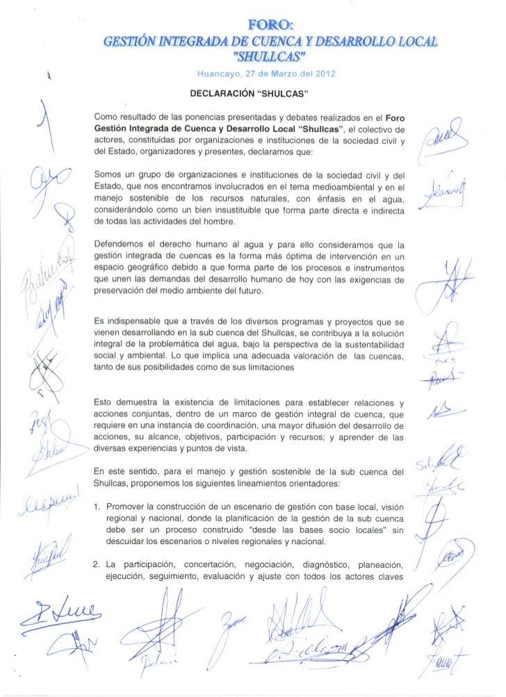 El Mantaro Revive - Declaración Shullcas