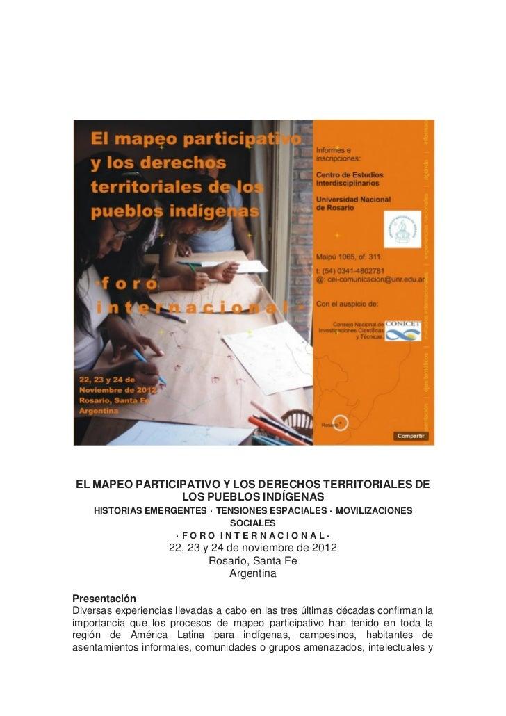 EL MAPEO PARTICIPATIVO Y LOS DERECHOS TERRITORIALES DE                   LOS PUEBLOS INDÍGENAS   HISTORIAS EMERGENTES · TE...