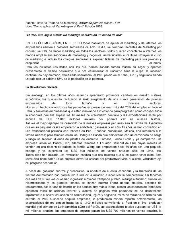 """Fuente: Instituto Peruano de Marketing. Adaptado para las clases UPN Libro """"Cómo aplicar el Marketing en el Perú"""" Edición ..."""