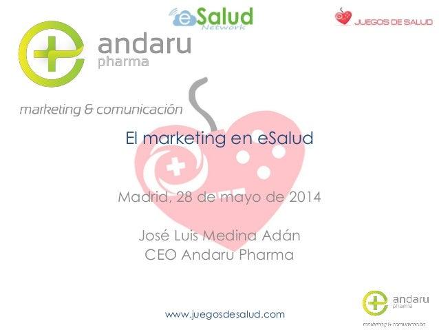 www.juegosdesalud.com El marketing en eSalud Madrid, 28 de mayo de 2014 José Luis Medina Adán CEO Andaru Pharma