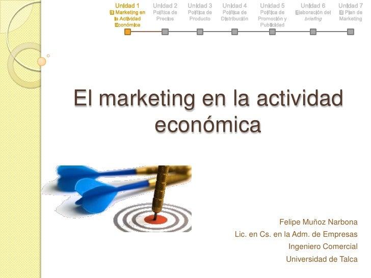 Unidad 1<br />El Marketing en la Actividad Económica<br />Unidad 2<br />Política de Precios<br />Unidad 3<br />Política de...