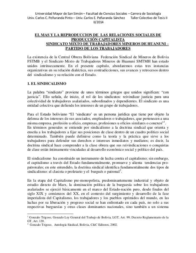 Universidad Mayor de San Simón – Facultad de Ciencias Sociales – Carrera de Sociología  Univ. Carlos C. Peñaranda Pinto – ...