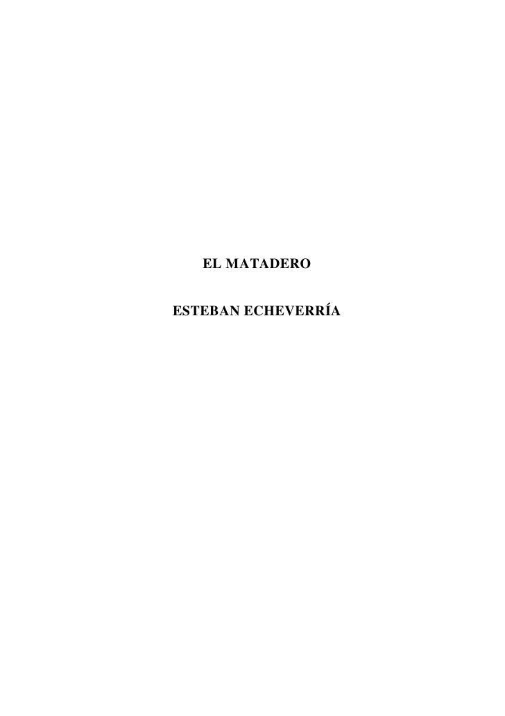 EL MATADEROESTEBAN ECHEVERRÍA