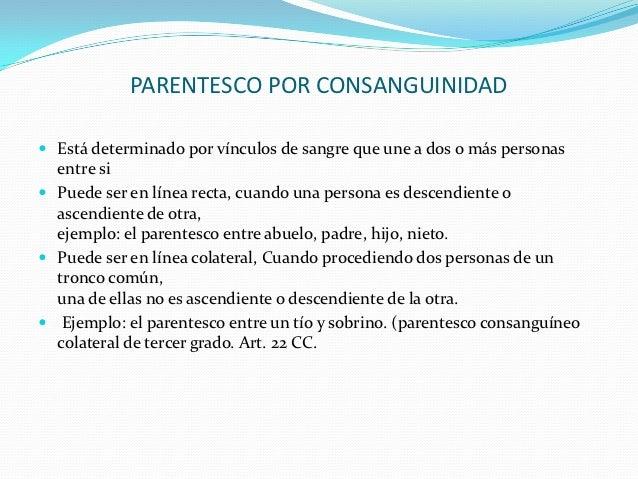 PARENTESCO POR CONSANGUINIDAD Está determinado por vínculos de sangre que une a dos o más personas  entre si Puede ser e...