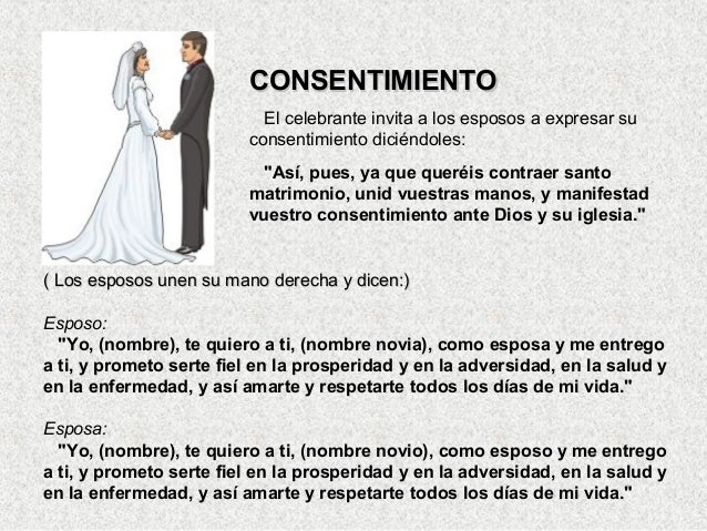 Consentimiento Matrimonial Catolico Formula : El matrimonio